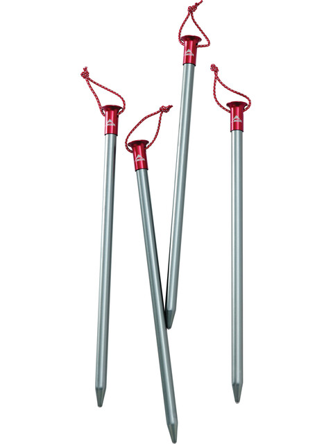 MSR Core Tentaccessoires hardware 4 Stakes rood/zilver